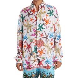 Men's Versace Tresor De La Mer Linen Button-Up Shirt, Size 39 EU - White found on MODAPINS from Nordstrom for USD $950.00