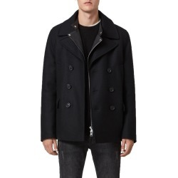 Men's Allsaints Altair Wool Blend Peacoat, Size 42 - Black