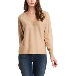 Women's Vince Camuto Embellished Cotton Blend V-Neck Sweater, Size X-Small - Metallic found on Bargain Bro from Nordstrom for USD $40.58