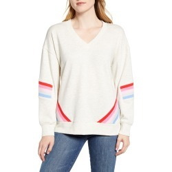 Women's With & Wisdom Stripe Detail V-Neck Sweatshirt, Size Large - Beige (Nordstrom Exclusive) found on Bargain Bro India from LinkShare USA for $68.00
