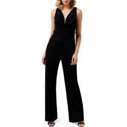 Women's Ever New Willa Cowl Neck Shimmer Velvet Jumpsuit, Size 6 - Black