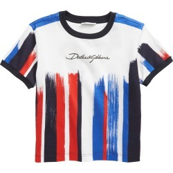 Toddler Girl's Dolce & gabbana Kids' Stripe Logo Crown Graphic Tee, Size 2T - Blue found on Bargain Bro from Nordstrom for USD $163.40