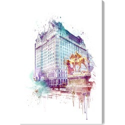 Oliver Gal Plaza Night Canvas Wall Art