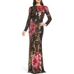 Women's MAC Duggal Drape Back Floral Sequin Gown, Size 0 - Black