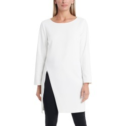 Women's Vince Camuto Long Sleeve Side Slit Crepe Ponte Tunic Top, Size Medium - White found on Bargain Bro from Nordstrom for USD $67.64