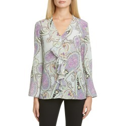 Women's Etro Paisley Plisse Pleat High/low Silk Shirt, Size 2 US - Blue found on MODAPINS from LinkShare USA for USD $304.00