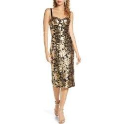 Women's Bronx And Banco Louise Floral Sequin Sheath Dress, Size Large - Metallic