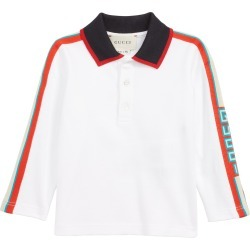 Infant Boy's Gucci Long Sleeve Stripe Cotton Pique Polo Shirt, Size 3-6M - White found on Bargain Bro India from LinkShare USA for $250.00