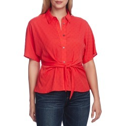 Women's Vince Camuto Tie Front Clip Dot Blouse, Size Small - Red