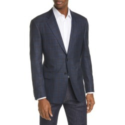 Men's Giorgio Armani Trim Fit Windowpane Melange Sport Coat, Size 46 US - Blue found on MODAPINS from LinkShare USA for USD $2395.00
