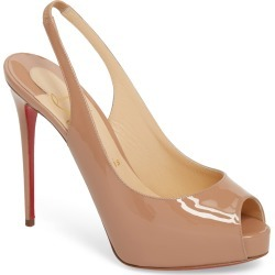 Women's Christian Louboutin Private Number Peep Toe Pump, Size 10US / 40EU - Beige found on Bargain Bro India from Nordstrom for $845.00