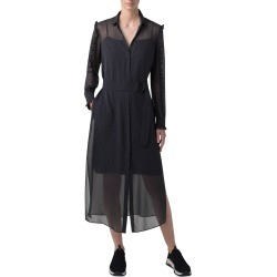 Women's Akris Punto Long Sleeve Belted Polka Dot Silk Midi Dress, Size 2 - Black found on MODAPINS from Nordstrom for USD $1390.00