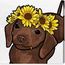 Oliver Gal Flower Puppy Canvas Wall Art