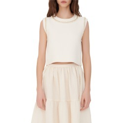 Women's Maje Chain Sleeveless Sweater, Size 2 - Beige found on MODAPINS from Nordstrom for USD $225.00