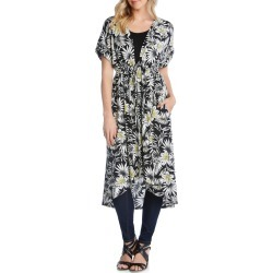 Women's Karen Kane Palm Floral Duster, Size X-Small - Black found on MODAPINS from Nordstrom for USD $109.00