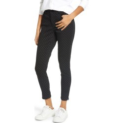 Women's Wit & Wisdom Ab-Solution High Waist Polka Dot Ankle Skinny Pants, Size 2 - Black (Regular & Petite) (Nordstrom Exclusive)