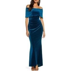Women's Vince Camuto Off The Shoulder Velvet Trumpet Gown, Size 0 - Blue/green