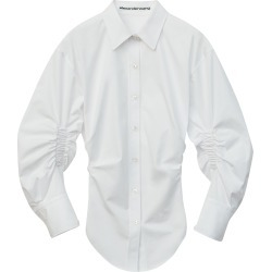 Women's Alexander Wang Ruched Sleeve Oversized Shirt, Size 8 - White found on MODAPINS from Nordstrom for USD $495.00