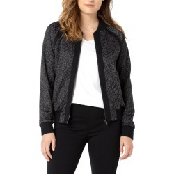 Women's Liverpool Leopard Print Ponte Bomber Jacket, Size Small - Grey found on Bargain Bro India from Nordstrom for $119.00