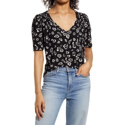 Women's Halogen Shirred Detail V-Neck Top, Size Large - Black found on Bargain Bro Philippines from Nordstrom for $18.75
