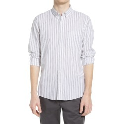 Men's Nordstrom Trim Fit Stripe Stretch Cotton & Linen Button-Down Shirt, Size X-Large - White found on Bargain Bro India from Nordstrom for $69.50