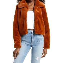 Women's Blanknyc Faux Fur Crop Jacket, Size Large - Brown found on Bargain Bro from Nordstrom for USD $44.69