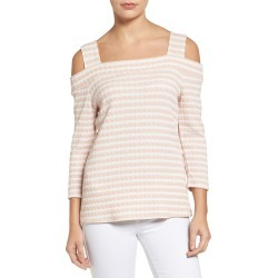 Women's Kut From The Kloth Fridi Texture Stripe Cold Shoulder Top, Size Large - White found on MODAPINS from Nordstrom for USD $68.00