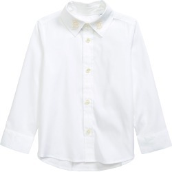 Toddler Boy's Burberry Kids' Nyles Monogram Motif Stretch Poplin Button-Up Shirt, Size 3Y - White found on Bargain Bro from Nordstrom for USD $144.40