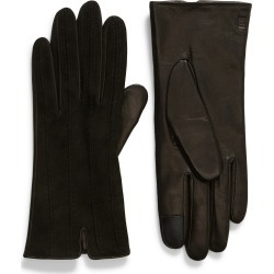 Women's Frye Topstitched Leather Touchscreen Gloves, Size Small - Black