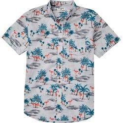 Toddler Boy's Billabong Sundays Floral Woven Shirt, Size S (4) - Grey