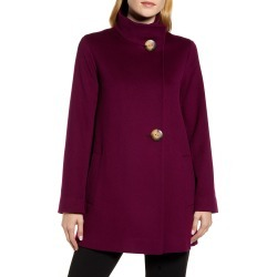 Women's Fleurette Stand Collar Wool Car Coat, Size 12 - Purple