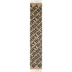 Women's Burberry Giant Text/check Cashmere Scarf