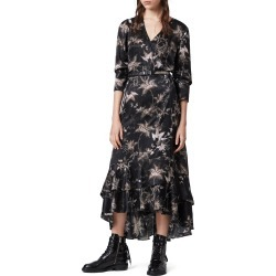 Women's Allsaints Tage Evolution Floral Print High/low Wrap Dress