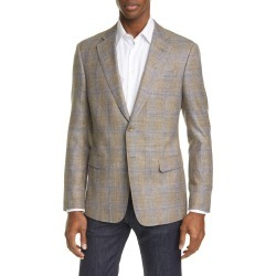 Men's Giorgio Armani Trim Fit Plaid Wool & Silk Blend Sport Coat, Size 42 US - Brown found on MODAPINS from LinkShare USA for USD $2595.00