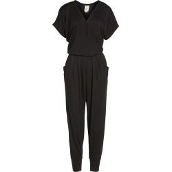 Petite Women's Loveappella Short Sleeve Wrap Top Jumpsuit, Size Small P - Black