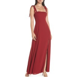 Women's Fame And Partners Tie Shoulder Gown, Size 12 - Burgundy