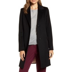 Women's Fleurette Notched Collar Wool Walker Coat, Size 14 - Black