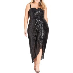 Plus Size Women's City Chic Siren Sequin Convertible Strapless Gown, Size Large - Black