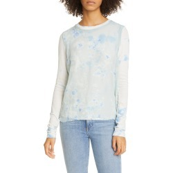 Women's Raquel Allegra Andromeda Dyed Silk Chiffon Muscle Tee, Size 3 (fits like 10 US) - Blue