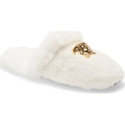 Versace Logomania Faux Fur Slipper, Size 43 - White found on MODAPINS from Nordstrom for USD $425.00
