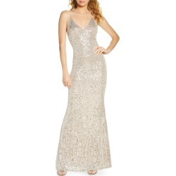 Women's Lulus Moonlight Sequin Trumpet Gown, Size Large - Metallic