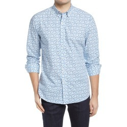 Men's Bugatchi Shaped Fit Geo Print Button-Up Shirt, Size Large - Blue found on Bargain Bro India from Nordstrom for $119.40
