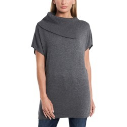 Women's Vince Camuto Foldover Split Neck Short Sleeve Tunic Sweater, Size X-Small - Black found on Bargain Bro from Nordstrom for USD $60.04