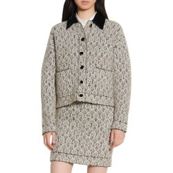 Women's Sandro Metallic Cardi Coat, Size 1 - Black found on Bargain Bro from Nordstrom for USD $326.80