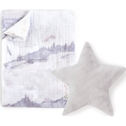 Oilo Swaddle Blanket & Silver Star Dream Pillow Set, Size One Size - Grey