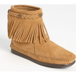 Women's Minnetonka Fringed Moccasin Bootie, Size 9 M - Beige found on Bargain Bro from Nordstrom for USD $51.64