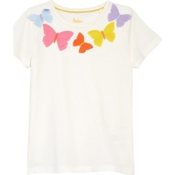 Toddler Girl's Mini Boden Kids' Butterfly Applique T-Shirt, Size 3-4Y - Ivory found on Bargain Bro from Nordstrom for USD $24.32