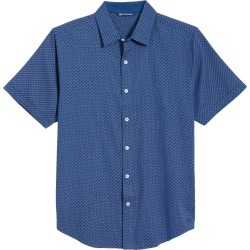 Men's Big & Tall Cutter & Buck Windward Jigsaw Short Sleeve Button-Up Shirt, Size 2XB - Blue found on Bargain Bro from Nordstrom for USD $68.40