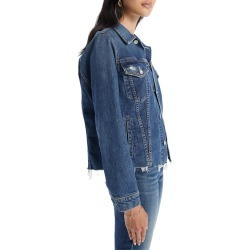 Women's Mother The Cut Denim Jacket, Size Small - Blue found on Bargain Bro from Nordstrom for USD $247.00