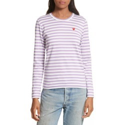 Women's Comme Des Garcons Play Stripe Tee, Size Small - Purple found on Bargain Bro Philippines from Nordstrom for $128.00